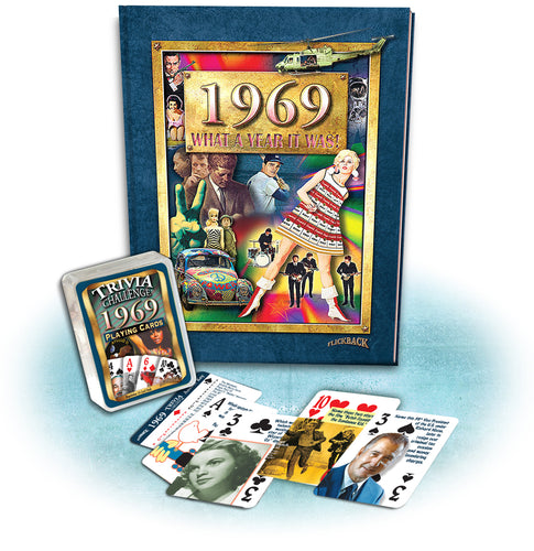 1969 What A Year It Was! Coffee Table Book & 1969 Trivia Challenge Playing Cards Combo 49th Birthday or Anniversary