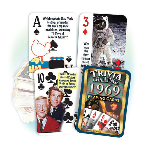 1969 Trivia Challenge Playing Cards: Happy 50th Birthday or Anniversary Gift