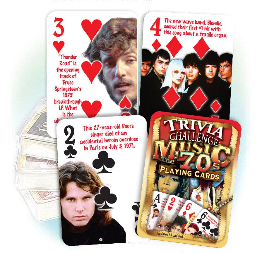 1970's Music Trivia Playing Cards: 50th Birthday or Anniversary