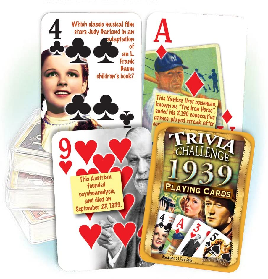 1939 Trivia Challenge Playing Cards: Birthday or Anniversary Gift