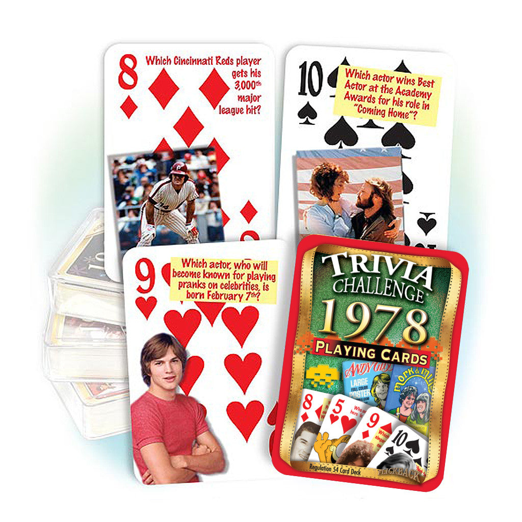 1978 Trivia Challenge Playing Cards: 40th Birthday or Anniversary Gift