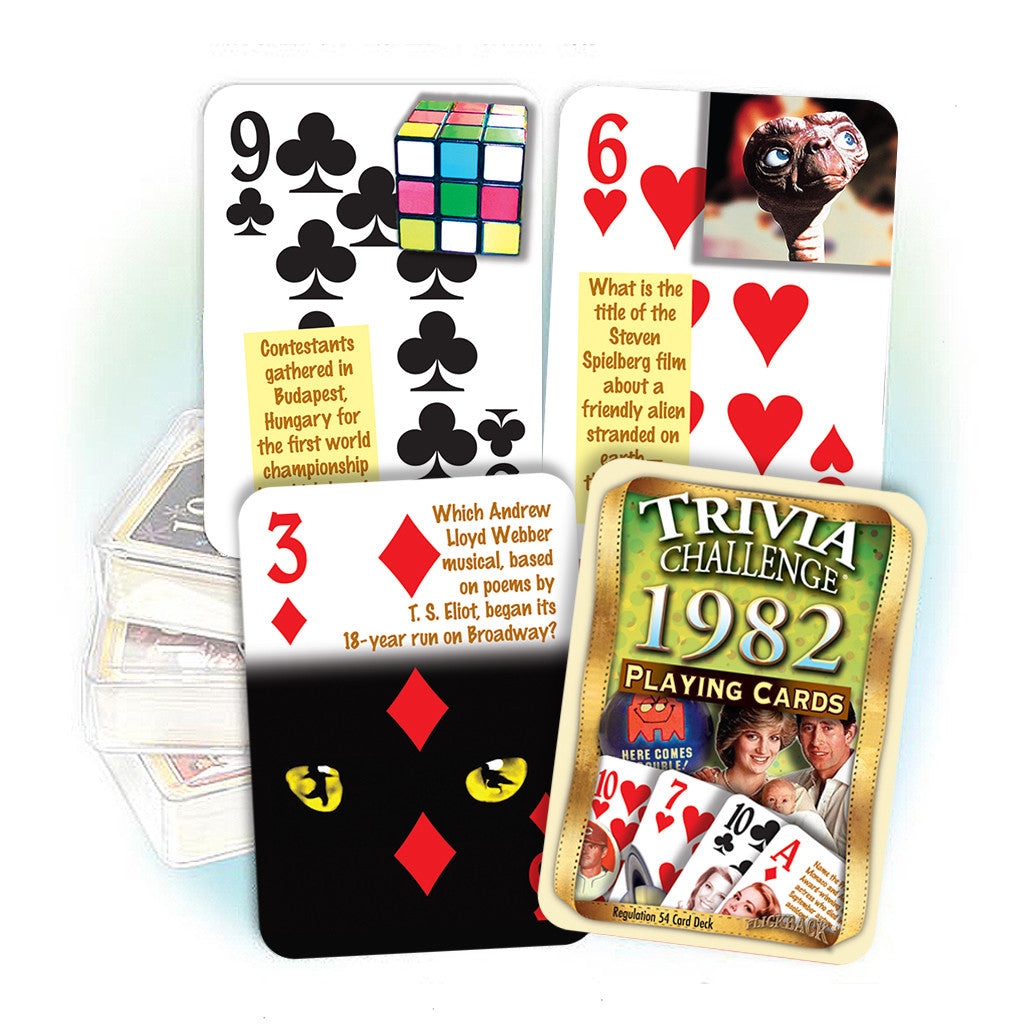 1982 Trivia Challenge Playing Cards: 36th Birthday or Anniversary Gift