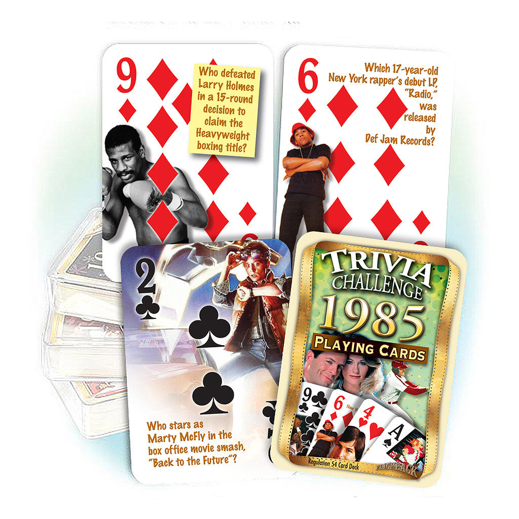 1985 Trivia Challenge Playing Cards: 33rd Birthday or Anniversary Gift