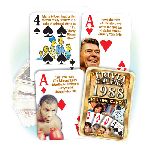 1988 Trivia Challenge Playing Cards: 30th Birthday or Anniversary Gift
