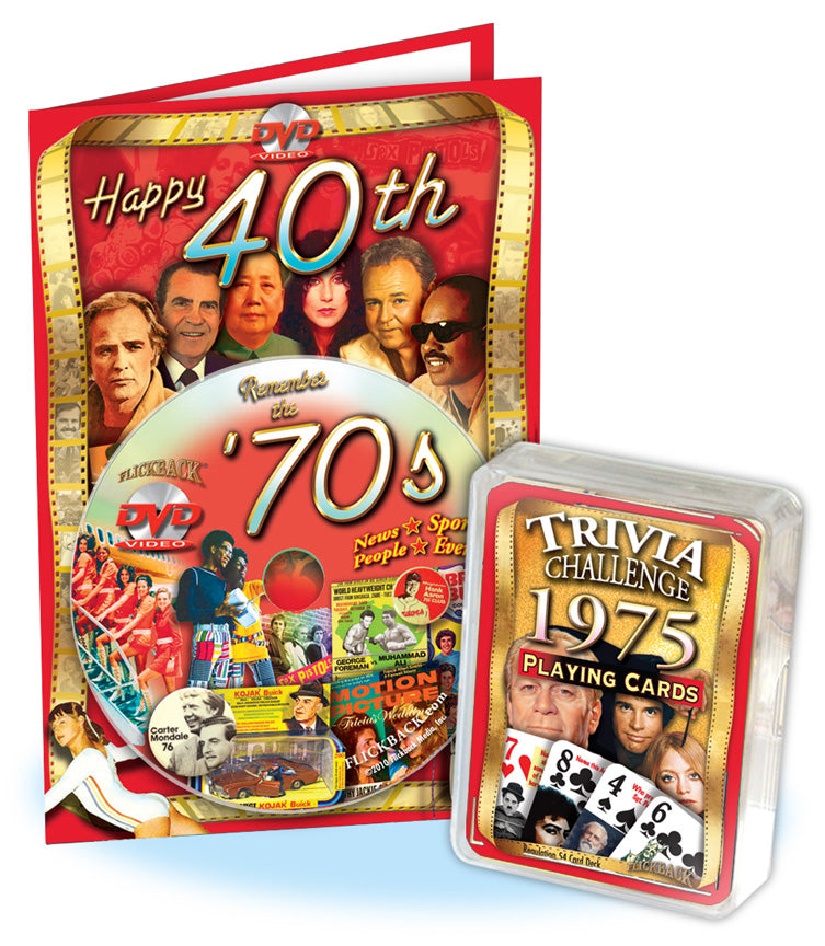 43rd Birthday Gift Set: 1970's Decade DVD & 1975 Trivia Playing Cards