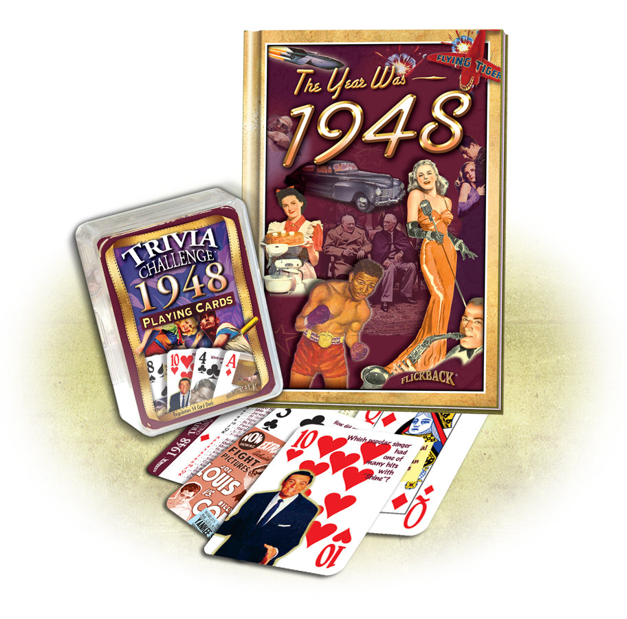 1948 Birthday Gift Set: 1948 MiniBook + 1948 Trivia Challenge Playing Cards