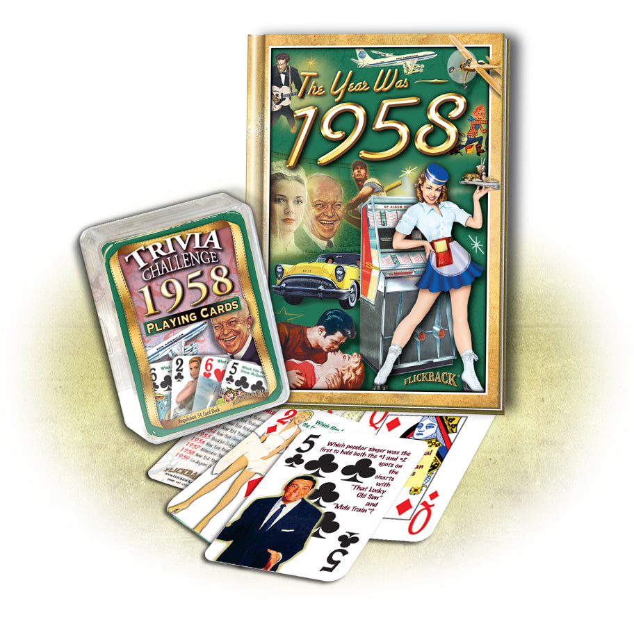 1958 MiniBook & 1958 Trivia Playing Cards: 60th Birthday or Anniversary Gift