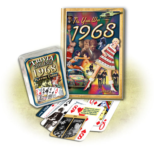 1968 MiniBook & Trivia Playing Card Combo: 50th Birthday or Anniversary Gift