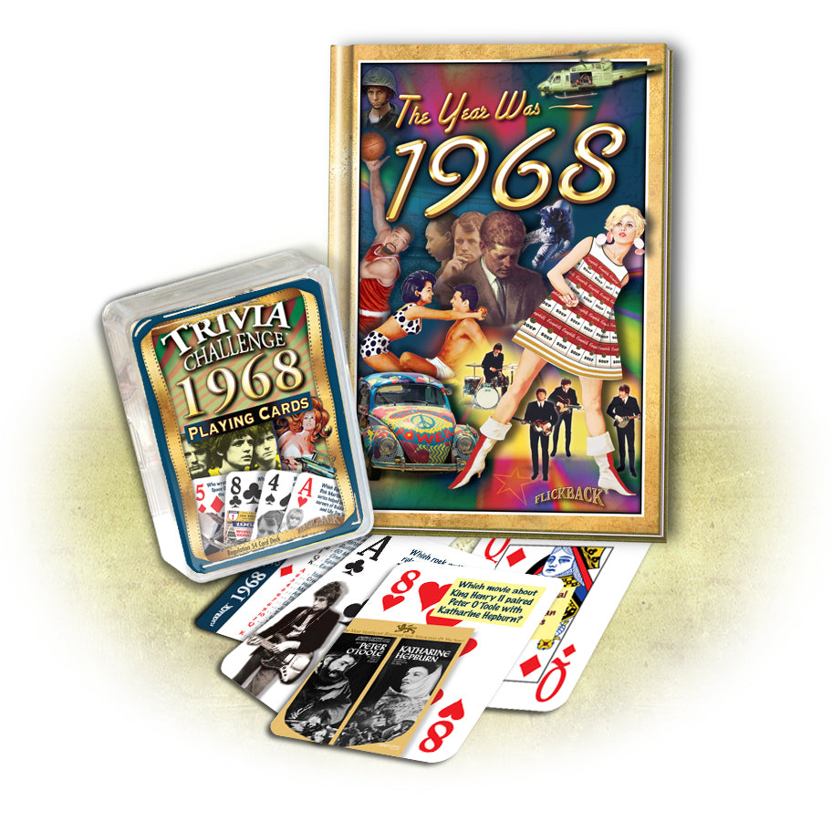 1968 MiniBook & Trivia Playing Card Combo: Birthday or Anniversary Gift