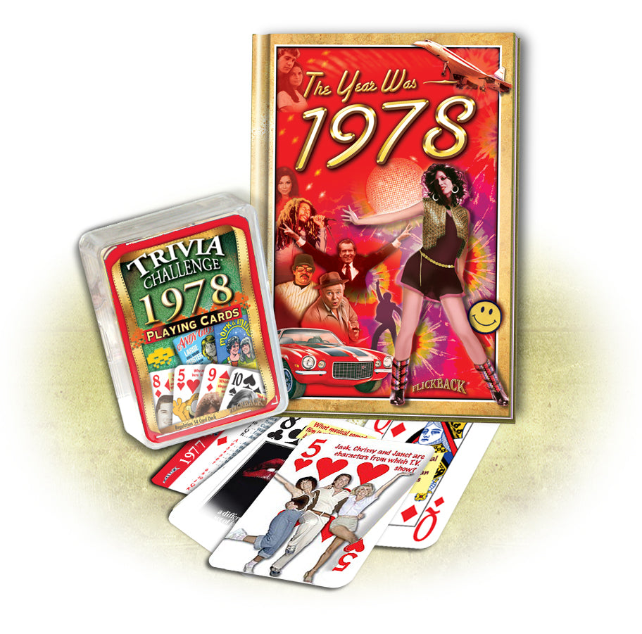 1978 MiniBook & 1978 Trivia Playing Cards: 40th Birthday or Anniversary Gift