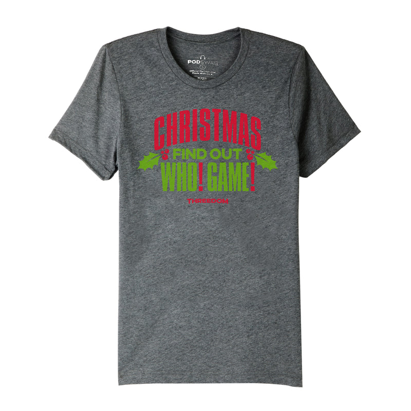 Threedom: Christmas Find Out Who Game T-shirt