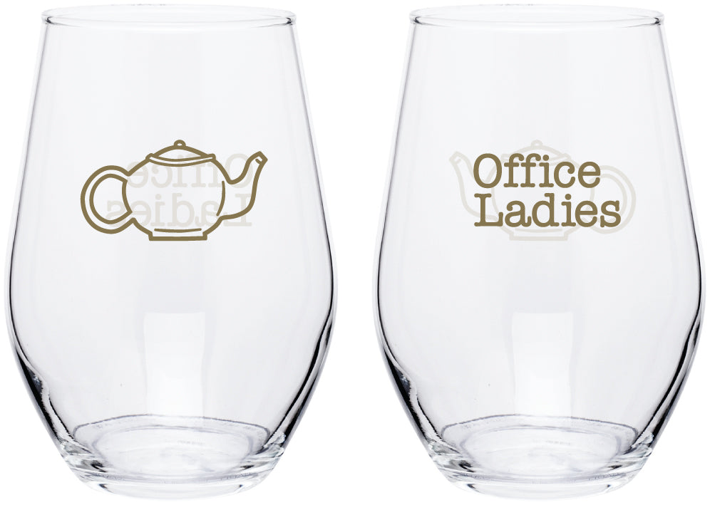 Office Ladies: Teapot & Sprinkles Wine Glass Set