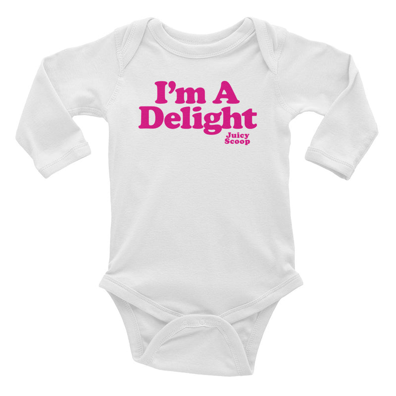 Juicy Scoop: Long Sleeve Onesie (Pink)