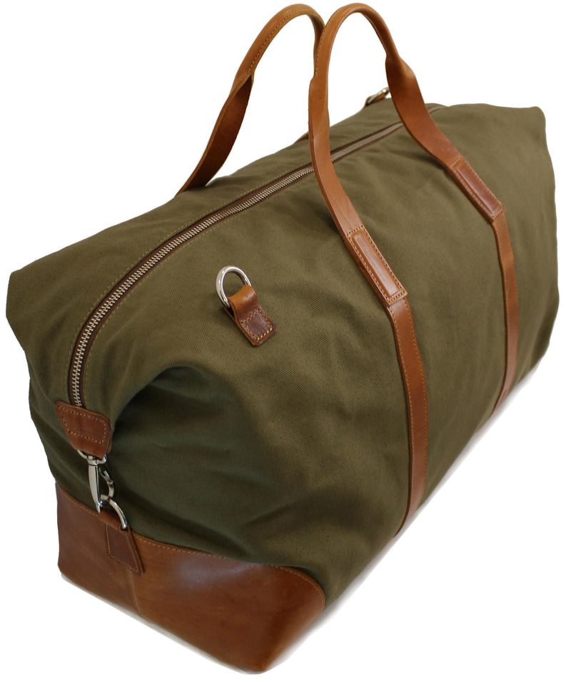 Holdall bag (a carryall type bag) in olive military green canvas and bottom, corners and handles in leather.