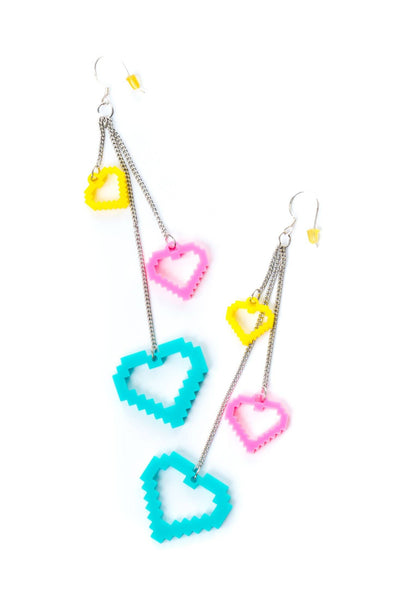 Heart Dangle Earrings - Party Rock Clothing REDFOO LMFAO
