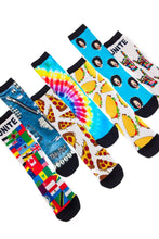 Socks - Party Rock Clothing Redfoo Unite Pizza Taco Tie Dye Denim Socks