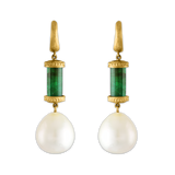 Short Laurel Tropaion Emerald Earrings