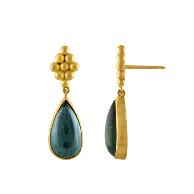 Large Teal Tourmaline Nona Earrings