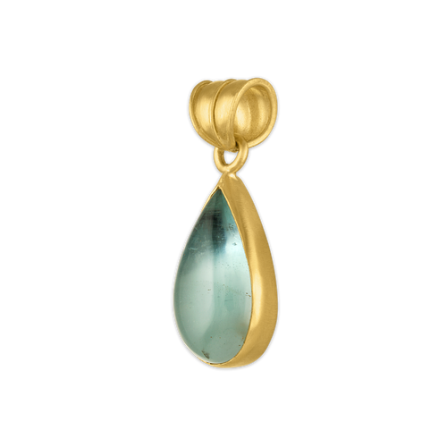 Elongated Aquamarine Tear Pendant
