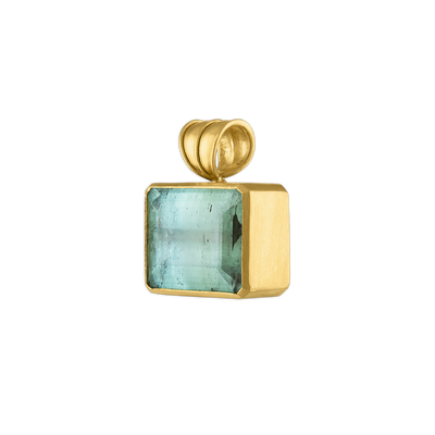 Small Green Beryl Block Pendant