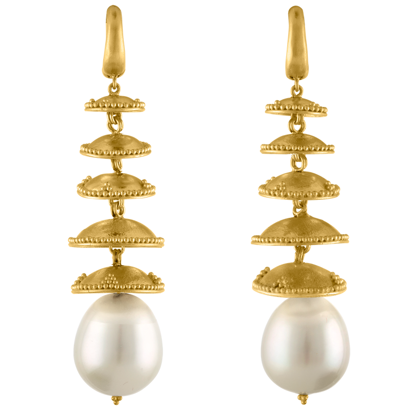 Granulated Pagoda Drop Earrings