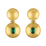 Emerald Double Dome Bulla Earrings