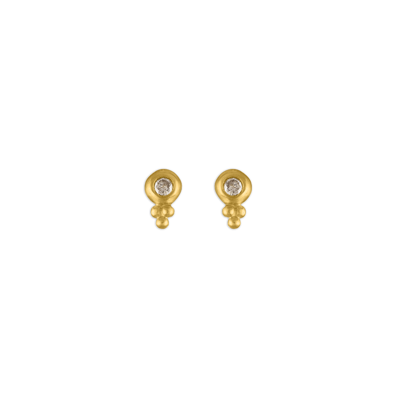 Small Diamond Lentil-Shaped Bulla Earrings
