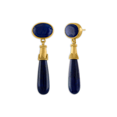Granulated Lapis Amphora Earrings
