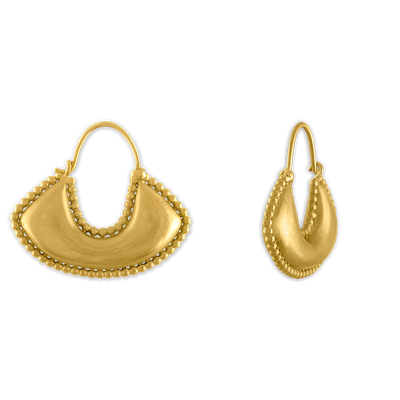 Large Granulated Boat-Shaped Hoop Earrings