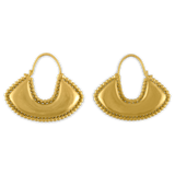 Granulated Boat-Shaped Hoop Earrings