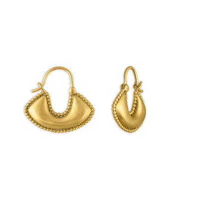Small Granulated Boat-Shaped Hoop Earrings