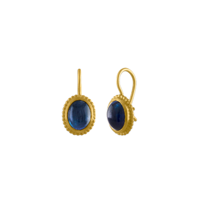 Granulated Blue Tourmaline Hook Earrings