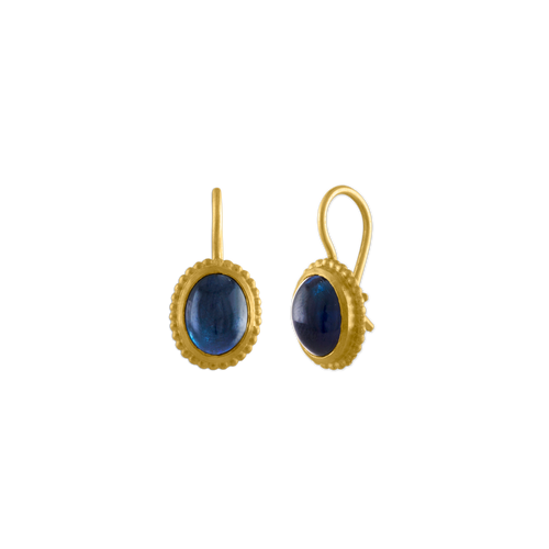 Blue Tourmaline Granulated Hook Earrings