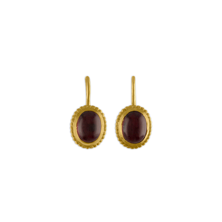 Granulated Garnet Hook Earrings