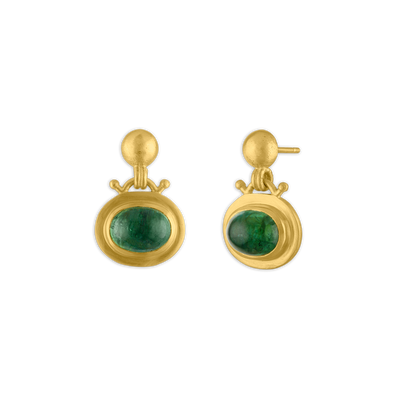 Large Green Tourmaline Bell Earrings