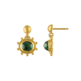Large Granulated Green Tourmaline Bell Earrings