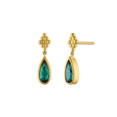 Elongated Small Green Tourmaline Nona Earrings