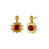 Large Granulated Garnet Bell Earrings