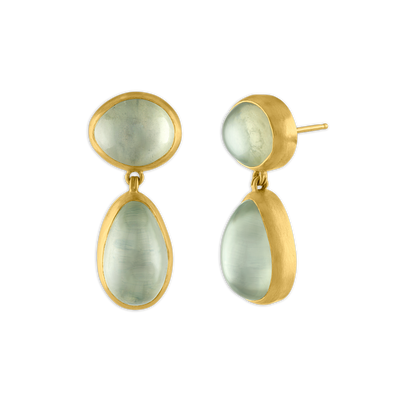 Green Mango Moonstone Amphora Earrings