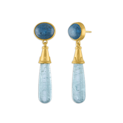 Aquamarine Granulated Amphora Earrings