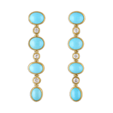 Antique Persian Turquoise and Old Mine Diamond Chime Earrings