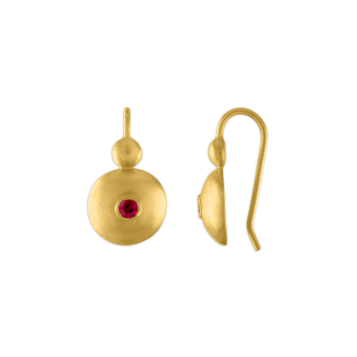Small Ruby Bulla Hook Earrings