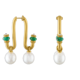Large South Sea Pearl, Emerald, and Old Mine Diamond Tuba Earrings