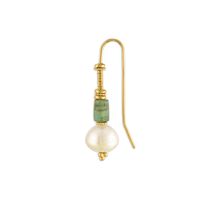 Opaque Emerald and South Sea Pearl Linea Earring