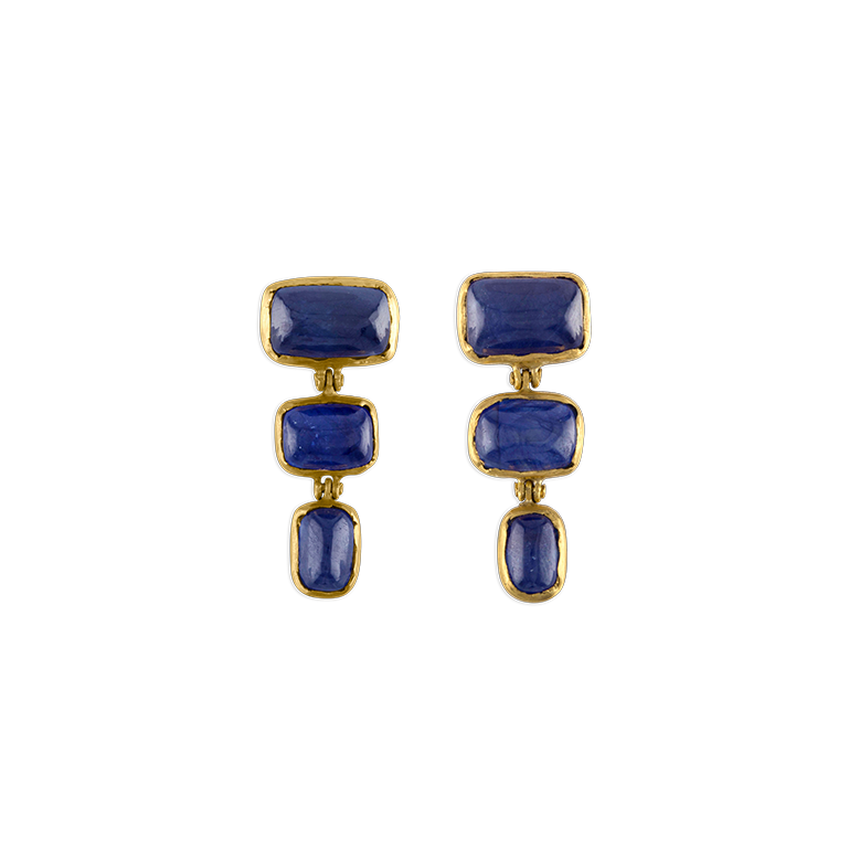 Trio Blue Sapphire Earrings