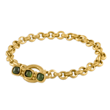 Green Tourmaline Double Link Chain Bracelet