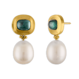 Green Tourmaline and South Sea Pearl Hinge Earrings