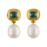 Green Tourmaline and Pearl Hinge Earrings