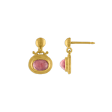 Small Pink Tourmaline Bell Earrings