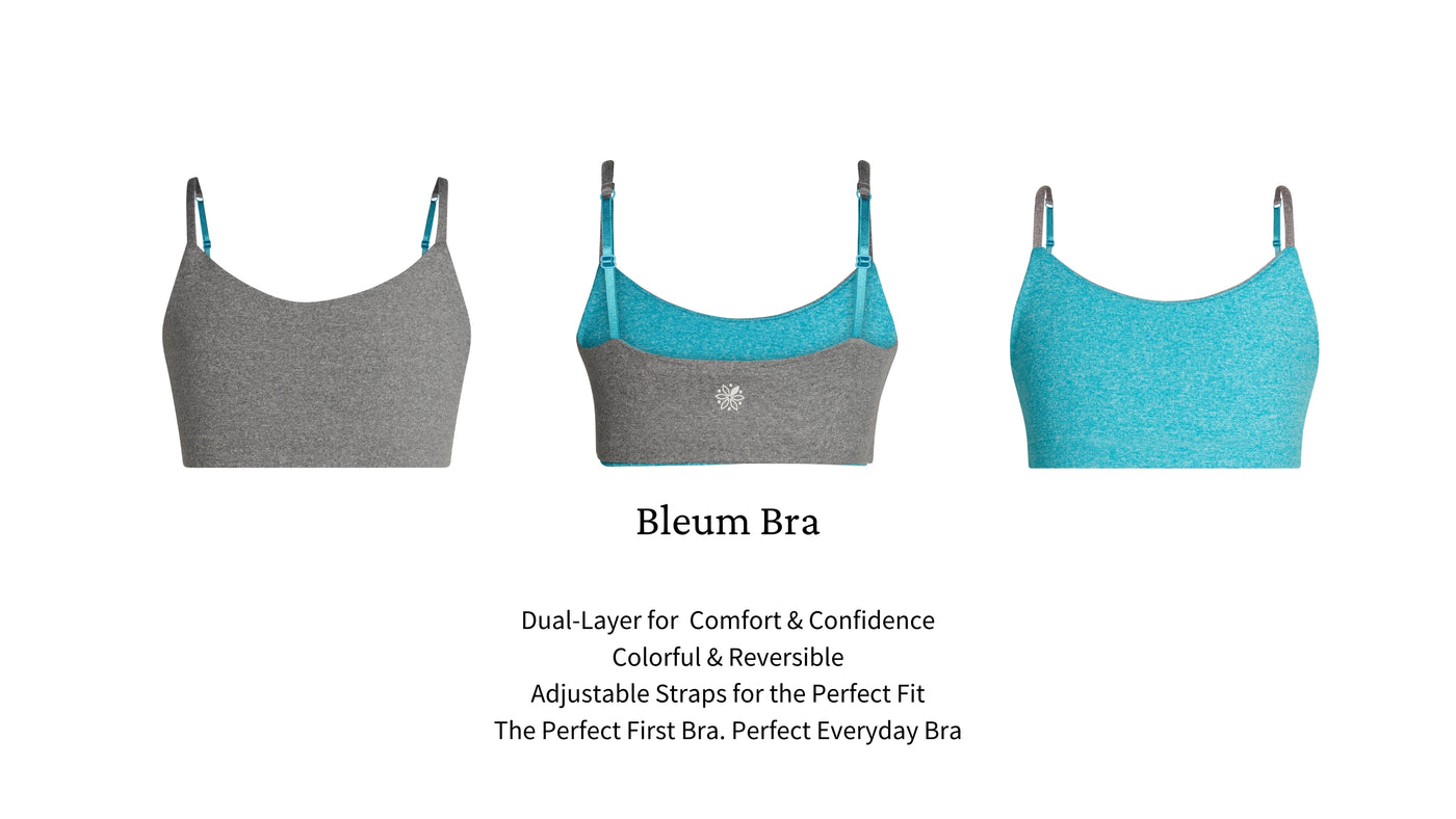 Bleum bras first bras and girls bras are designed to fit girls from age 7 to 15 and provides the coverage and support she needs.
